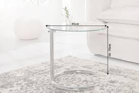 deco beistelltisch effect 45cm chrom glas höhenverstellbar riess ambiente de