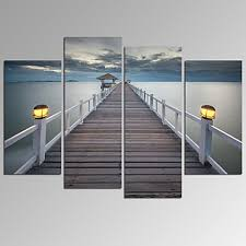 visual star bridge on sea landscape canvas wall art modern wall