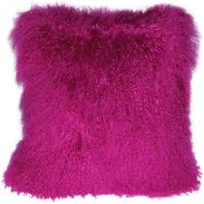 Mongolian Sheepskin Hot Magenta Pink Throw Pillow Pillow Decor