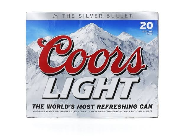 Coors Light Beer - 20 Cans