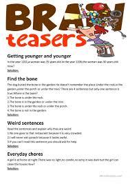 Halloween Brain Teasers Worksheets by 53 Free Esl Brainteasers Worksheets
