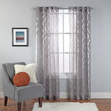Kitchen Curtains At Walmart by Delancey Metallic Print Sheer Grommet Window Panel Walmart Com
