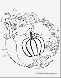Astonishing Disney Princess Halloween Coloring Pages With Ariel And Dress