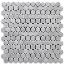 Carrara White 1 Inch Hexagon Mosaic Tile Honed