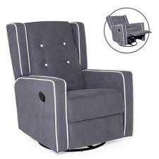 Best Choice Products Mid-Century Tufted Polyester Upholstered Recliner  Rocking Chair W/ 360-Degree Swivel - Gray Details About Baby Glider Swivel Rocking Rocker Chair Gliding Recliner Gray Nursery Fniture Smith Brothers 534 Casual Upholstered Fabric Wheels For Pneumatic Boy Leather Pb Wells Armchair Klaussner Chairs And Accents K630 Swgl Contemporary Cheap Find Hinreisend Living Room Fascating Caan Cream Ivory Threshold Shower New Glider Rocker Recliner Chair Shopsilverco Jessica Charles Fine Fairfield Buy Green Recling