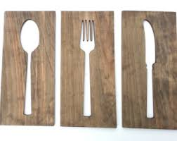 Wooden Fork And Spoon Wall Hanging by This Wooden Wall Art Plaque Is Three Separate Pieces Of Wooden