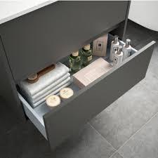 badezimmer badmöbel 80 cm aus mattgrauem holz mit porzellan waschtisch standard