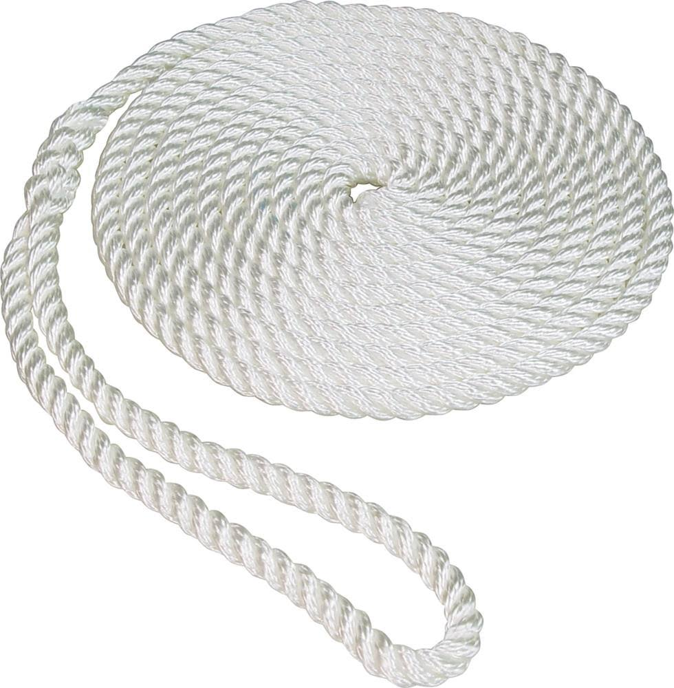 "Seasense Twisted Nylon Dock Line - White, 1/2"" x 25', 12"" Eye"
