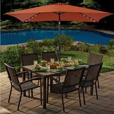 Solar Led Patio Umbrella by Brown Rectangle Patio Umbrella With Solar Lights For Dark Metal