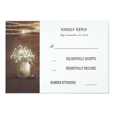 Rustic Baby39s Breath Mason Jar Wedding RSVP Cards