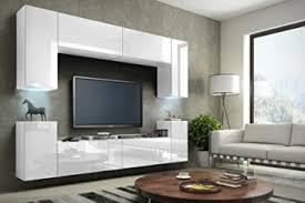 future 1 wohnwand anbauwand schrankwand möbel wand tv ständer wohnzimmer hochglanz schwarz weiß beleuchtung led rgb front hochglanz weiß korpus