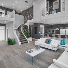 Gray Living Room Stairs Design