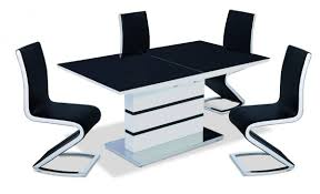 100 White Gloss Extending Dining Table And Chairs Black Glass Wonderful Style Round