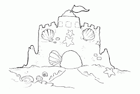 Sand Castle With Shells Coloring Page