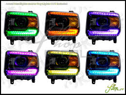 14 17 gmc drl w pro led colorshift halo rings headlights bulbs