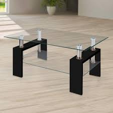 100 Living Room Table Modern Glass Black Coffee With Shelf Contemporary