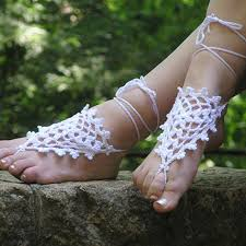 Beach Wedding White Crochet Bridal Women Triangles Shoes Made To Order Anklet Toe