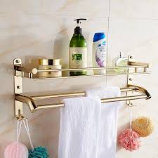 bad accessoires bad edelstahl goldenen finish regal 40 cm mit haken handtuchhalter handtuchhalter badezimmer regal