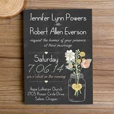 Boho Mason Jars Rustic Floral Chalkboard Wedding Invitations Ewi344 Black Background With Artistic Decor Where To