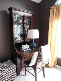 Living Room Secretary Desk Color And Pattern Dark Moody Walls Mink Wall By Silk Drapes Bamboo Print Ottoman Coral Shelf Styling Benjamin Moore Silver