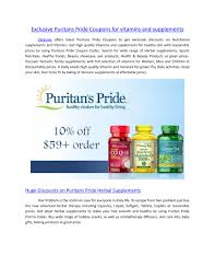 Exclusive Puritans Pride Coupons For Vitamins And ...