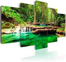 decomonkey bilder wald wasserfall 200x100 cm 5 teilig leinwandbilder bild auf leinwand wandbild kunstdruck wanddeko wand wohnzimmer wanddekoration