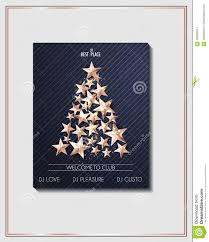 Download Christmas Poster Template With Tree Of Cutout Shining Gold Stars Stock Vector
