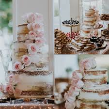 Naked Cake Rustic Real Flower Blush Wedding Rose Gold