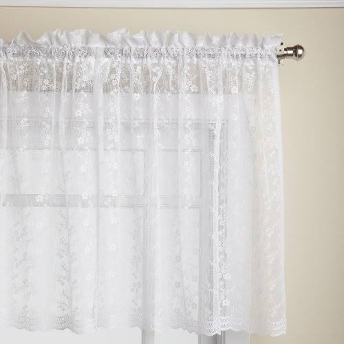 Lorraine Home Fashions Priscilla 60-Inch x 24-Inch Tier Curtain Pair White