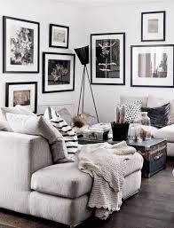 Black White And Gray Living Room With Throw Pillows