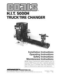 100 Truck Tire Changer COATS HIT 5000H User Manual 24 Pages
