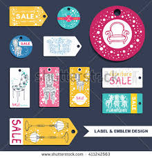 Furniture Labels Emblems Set Collection Of Vector Sale Templates For Flyer Price