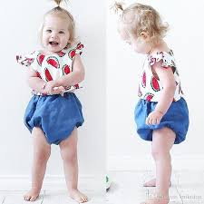 2018 Mikrdoo Summer Style Baby Clothes Newborn Girls Watermelon T Shirt Bloomers Kids GirlS Fashion Outfits Cotton Clothing 0 24m Top From