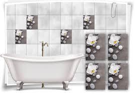 fliesen aufkleber spa wellness orchidee steine beton grau weiß blume bad wc deko