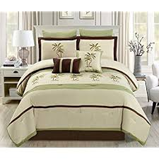 Amazon 9 Piece Queen Tapestry Palm Bedding forter Set