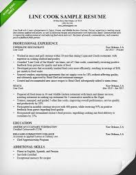 Resume Sample For A Line Cook