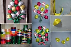 DIY Easy Ribbon Tulip Flower