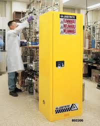 justrite yellow slimline safety cabinets 22 gallon capacity