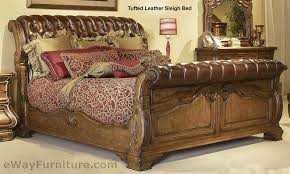 Giovanna Tufted Leather Sleigh Bed