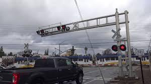100 Cordova Truck SACRT Light Rail Inbound Bradshaw Rd Railroad Crossing Rancho