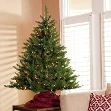 Pre Lit Tabletop Christmas Trees With Green Tree Combined String Light And Red Fabric On
