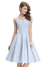 tiffany dusty blue polka dot dress 1950sglam