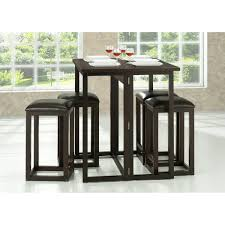 Leeds Brown Wood Collapsible Pub Table Set | See White