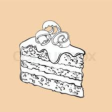Black and white hand drawn piece of layered chocolate cake with icing and shavings sketch style vector illustration isolated on background Realistic hand