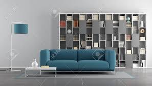 blaue und graue moderne wohnzimmer mit sofa und bücherregal 3d rendering