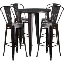Our 30 Round Black Antique Gold Metal Indoor Outdoor Bar Table Set