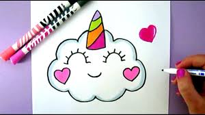 Easy Cute Drawings Pictures To Draw How A Kawaii Unicorn Cloud