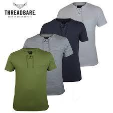 mens threadbare short sleeve notch lace up v neck 100 cotton