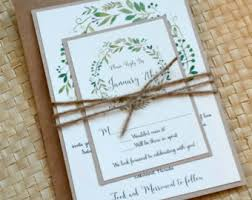 Greenery Wedding Invitation Rustic Botanical Wreath Watercolor