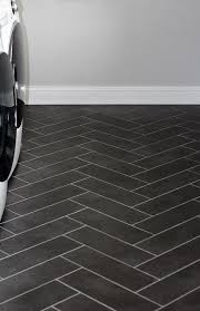 black herringbone laundry floor tiles transitional laundry room